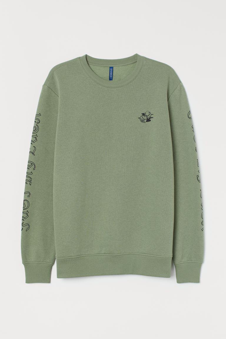 Sweatshirt with a motif - Khaki green/Dice - Men   H&M GB