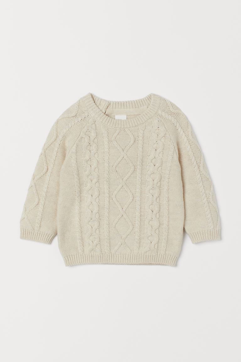 Cable-knit jumper - Light beige - Kids | H&M