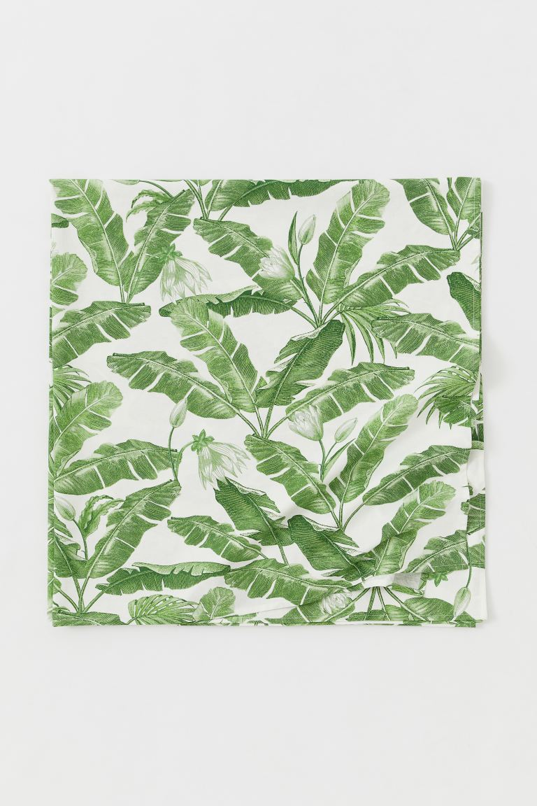Patterned Cotton Tablecloth - White/leaf-patterned - Home All | H&M CA