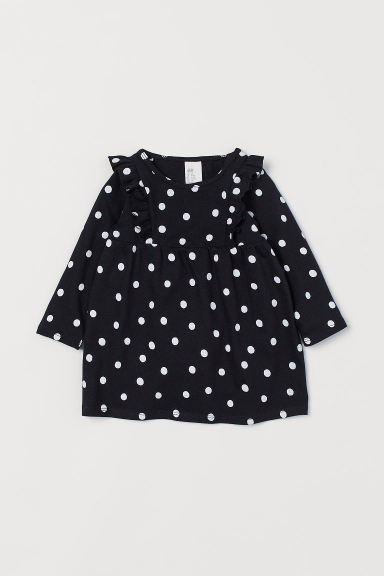Flounced Cotton Dress - Black/white dotted - Kids | H&M CA