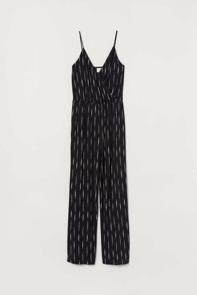 V-neck Jumpsuit - Black/white patterned - Ladies | H&M CA