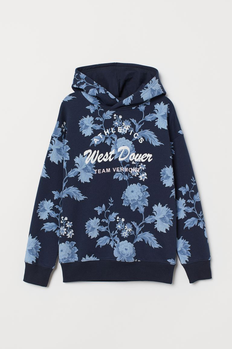 Printed hooded top - Dark blue/Floral - Kids | H&M