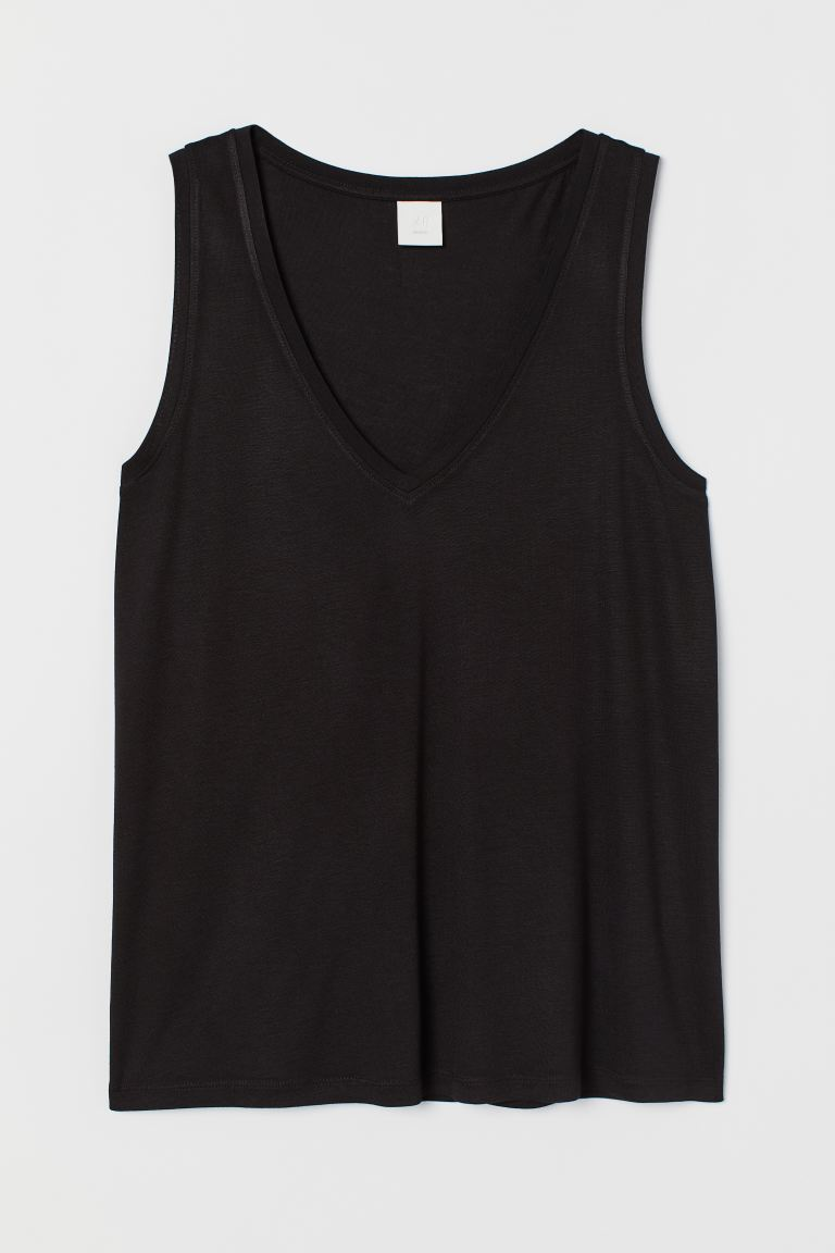 V-neck jersey top - Black - Ladies | H&M GB