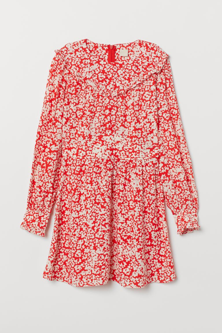 Patterned frilled dress - Red/White patterned - Ladies | H&M GB