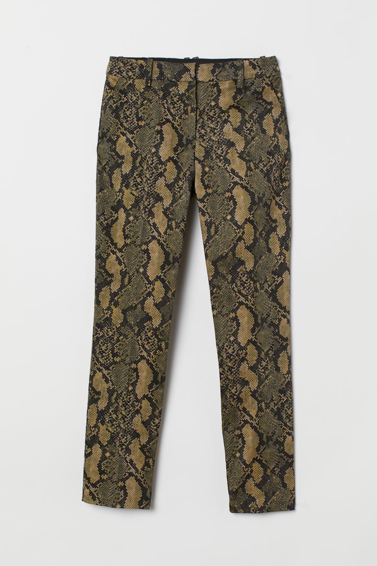 Slacks - Dark green/snakeskin-patterned - Ladies | H&M US
