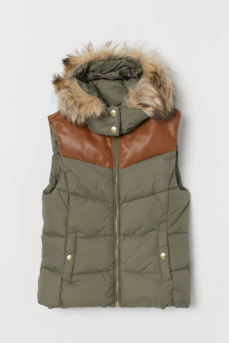 Padded gilet with a hood - Khaki green - Kids | H&M IE