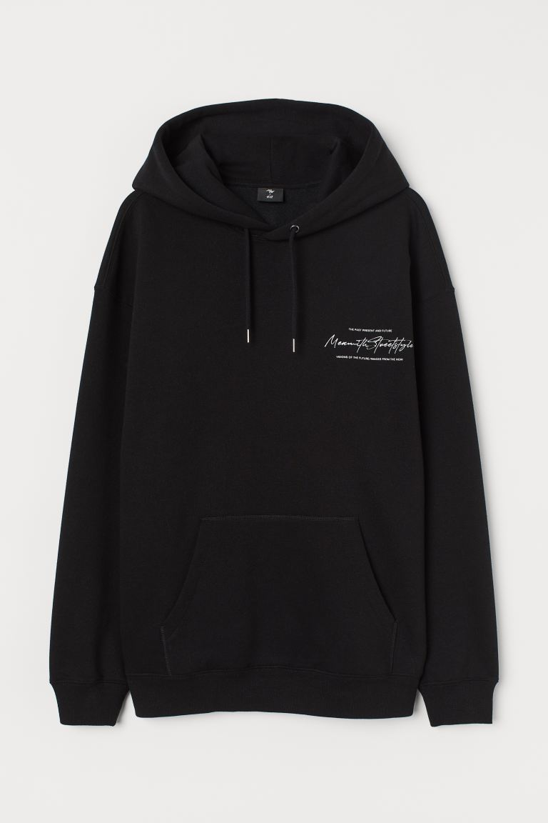 Hoodie with Motif - Black - Men | H&M CA