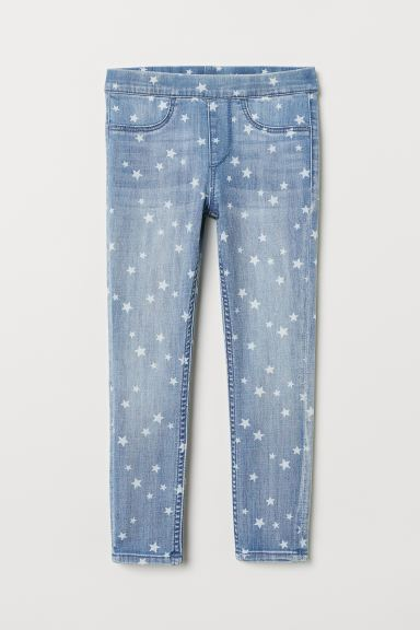 Patterned denim leggings - Light denim blue/Stars - Kids | H&M IE