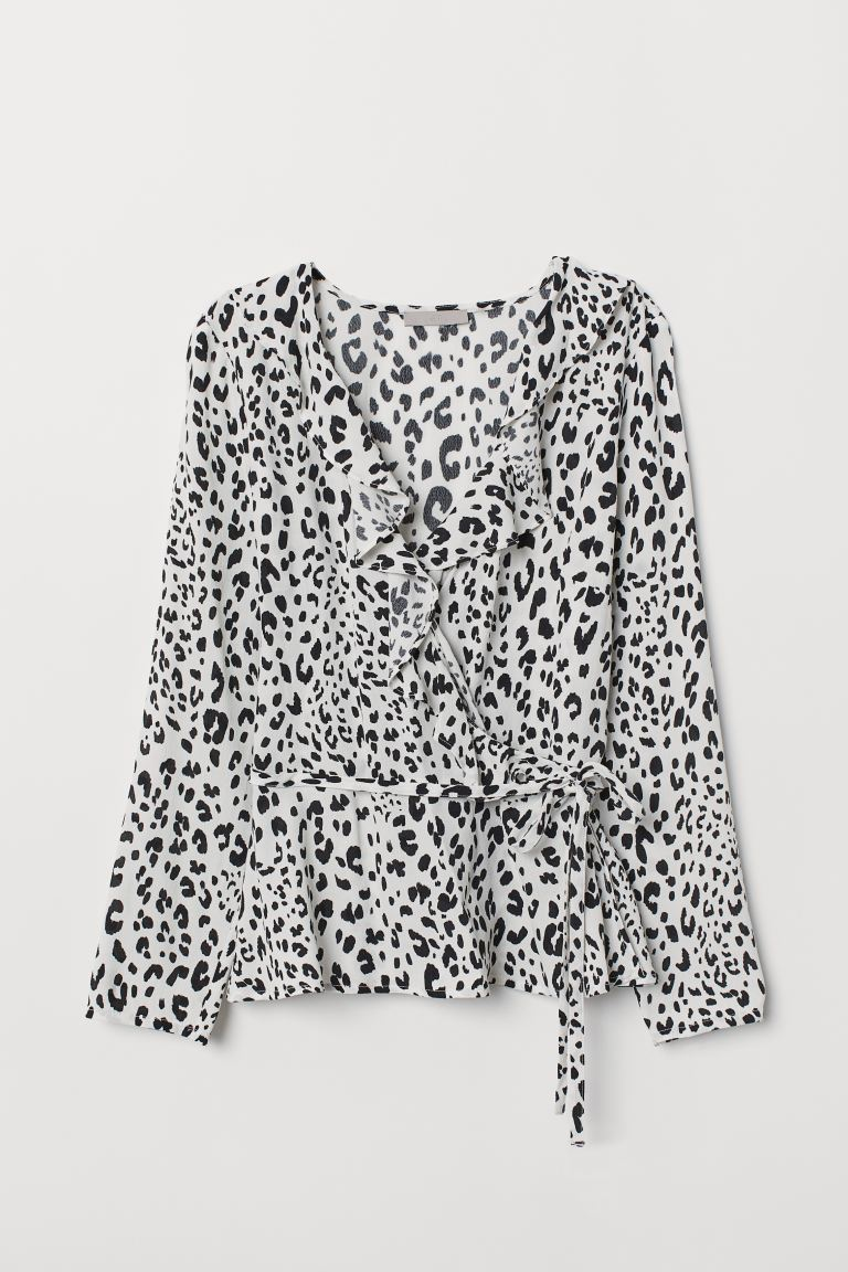 Flounced wrapover blouse - White/Leopard print - Ladies | H&M GB