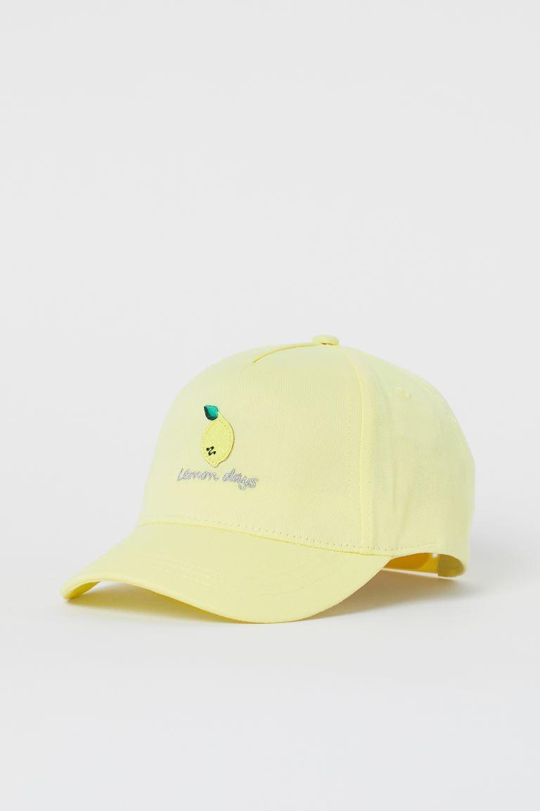 Appliquéd twill cap - Light yellow/Lemon - Kids | H&M GB