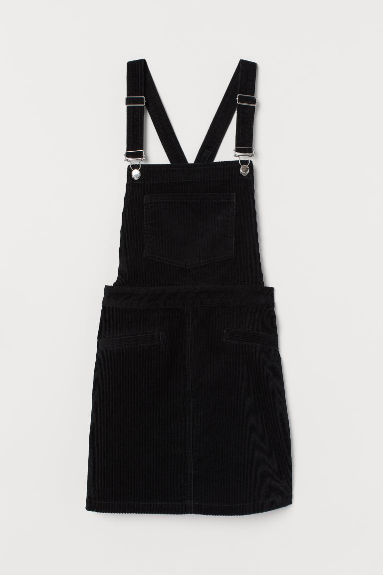 Corduroy Overall Dress - Black - Ladies | H&M CA