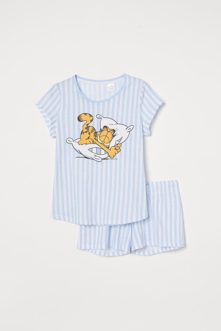 Jersey pyjamas - Light blue/Garfield - Kids | H&M