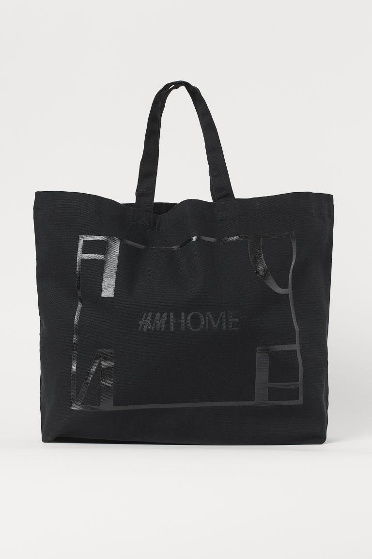 Cotton canvas shopper - Black - Ladies | H&M GB