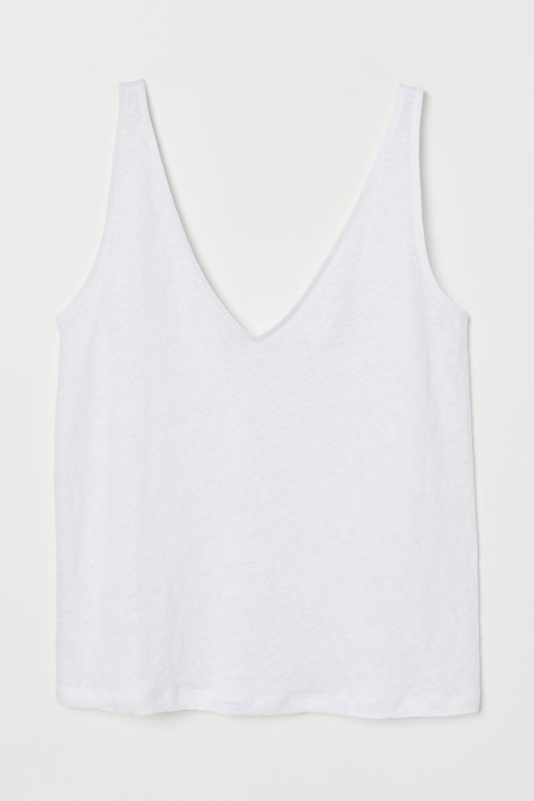 Tanktop aus Leinen - Weiß - Ladies | H&M AT 4
