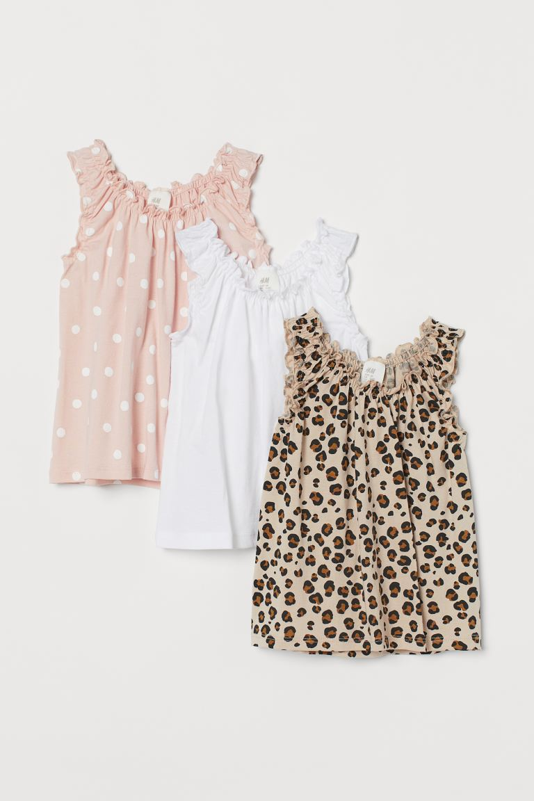 3-pack sleeveless tops - Light beige/Leopard print -  | H&M