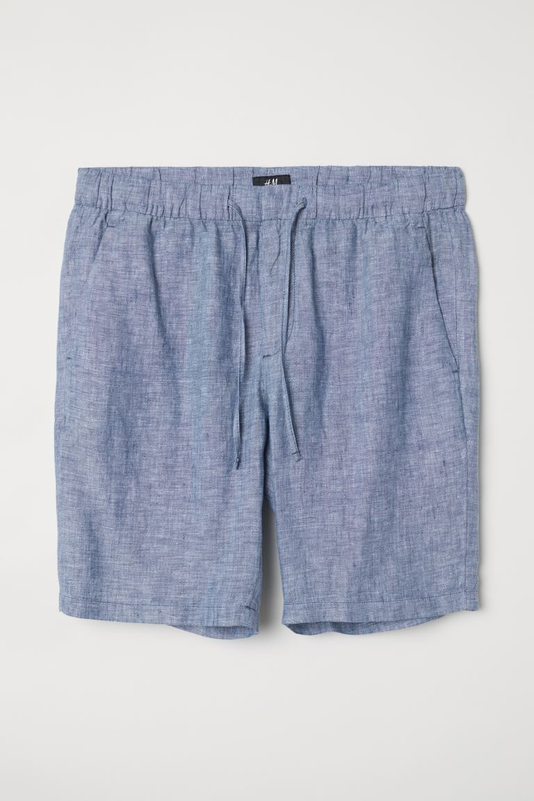 Shorts Relaxed fit en lino - Light blue - Men | H&M US