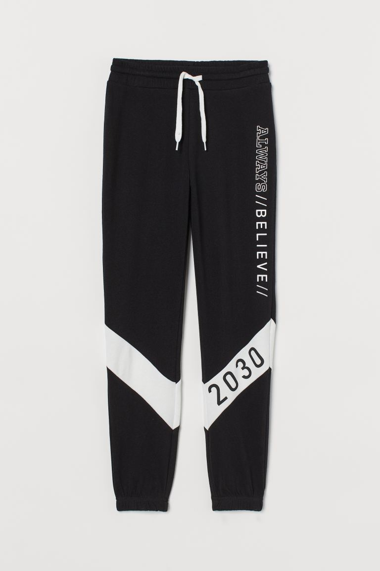 Block-coloured joggers - Black/Always Believe -  | H&M GB