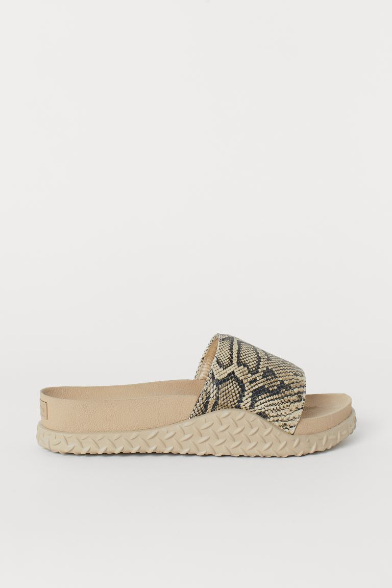 Sliders - Beige/Snakeskin-patterned - Men | H&M GB