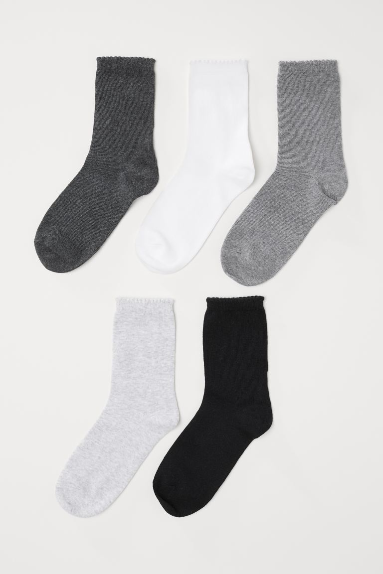 5-pack socks - White/Grey marl - Ladies | H&M IN