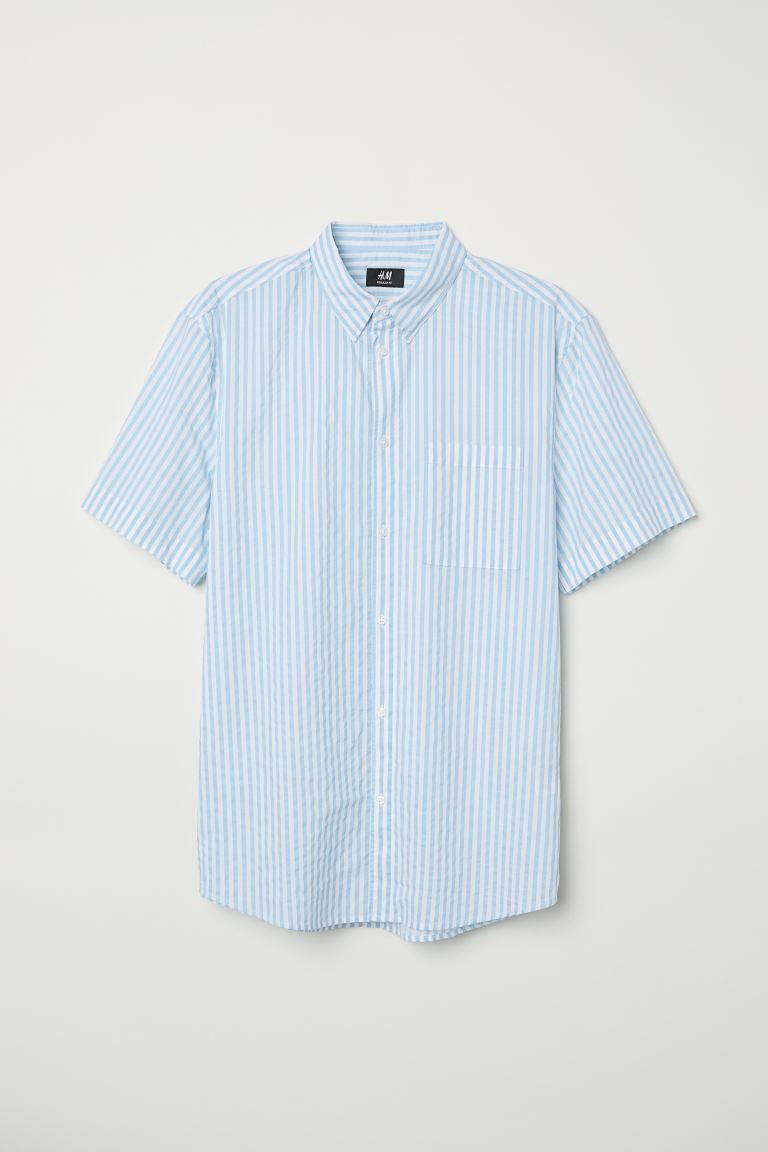 Regular Fit Cotton Shirt - White/blue striped - Men | H&M US