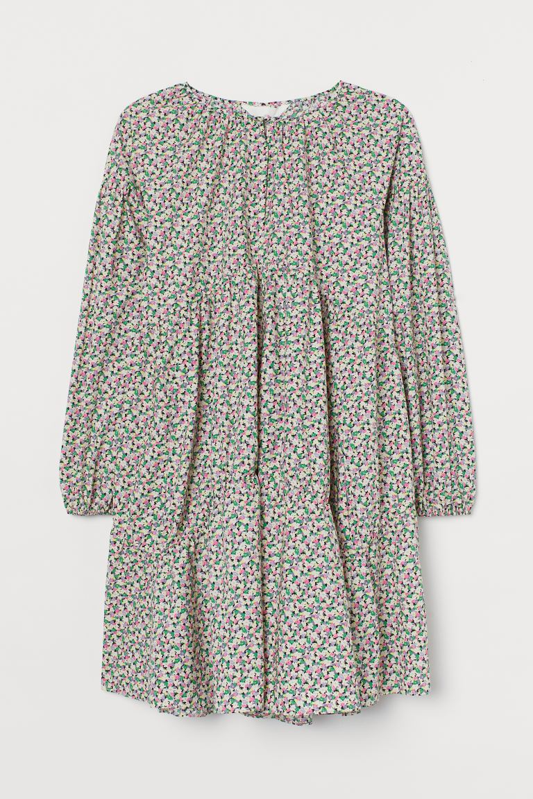 A-line cotton dress - Cream/Small flowers - Ladies | H&M