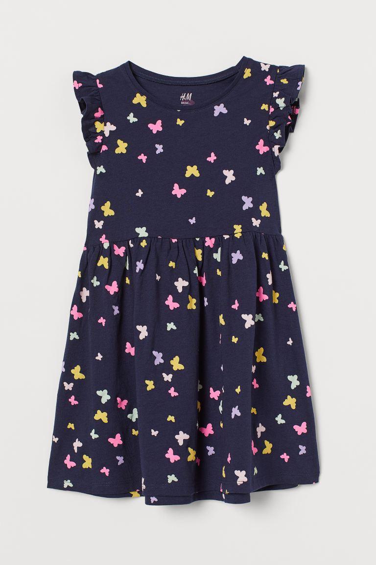 Jersey dress - Navy blue/Butterflies - Kids | H&M GB