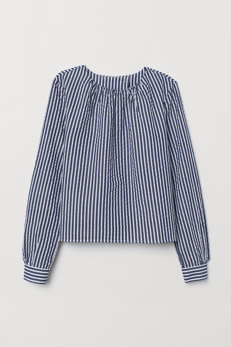 Seersucker Blouse Dark Blue White Striped Ladies H M Us