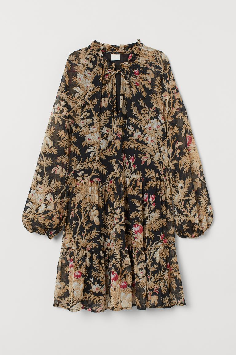 Chiffon dress - Black/Floral - Ladies | H&M