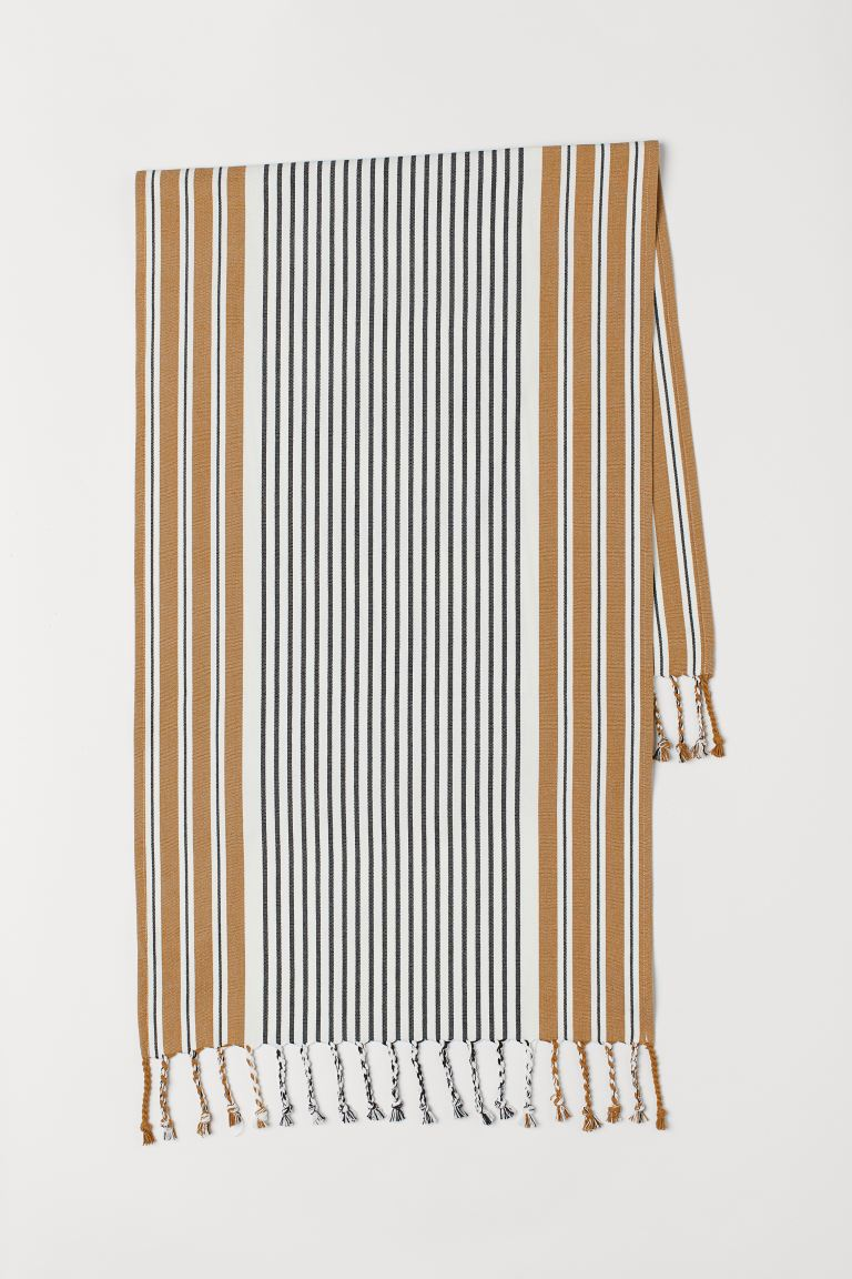 Fringed table runner - Dark beige/Striped - Home All | H&M GB