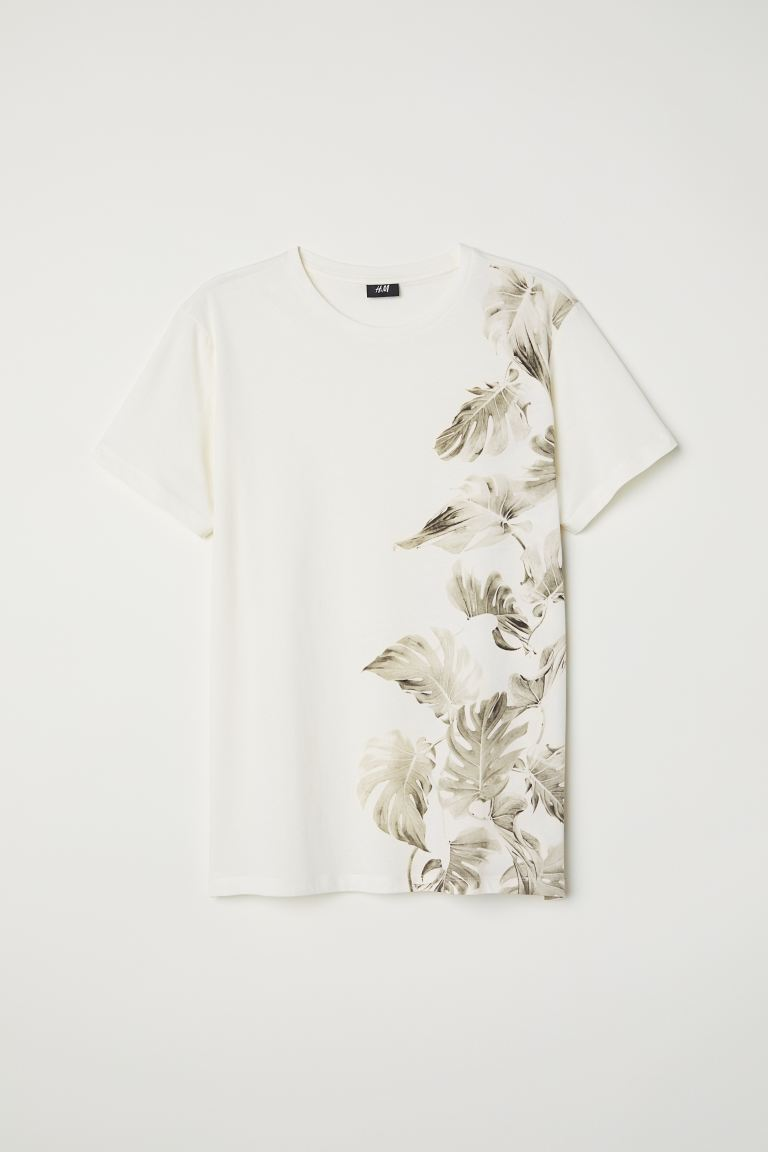 Cotton T-shirt - White/Leaves - Men | H&M GB