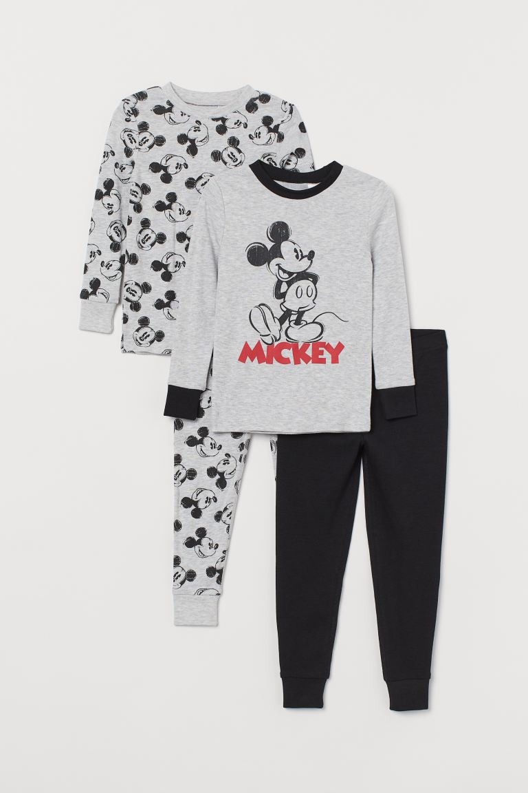 2-pack pyjamas - Grey marl/Mickey Mouse - Kids | H&M