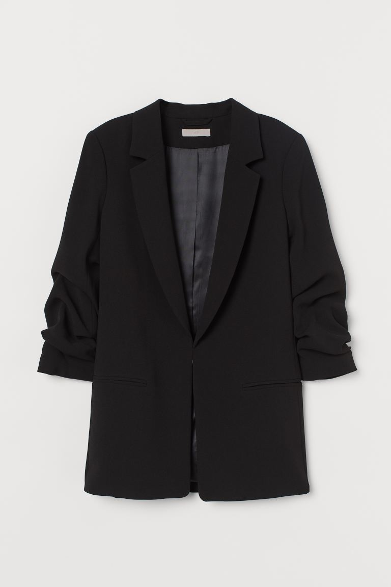 Jacket with gathered sleeves - Black - Ladies | H&M