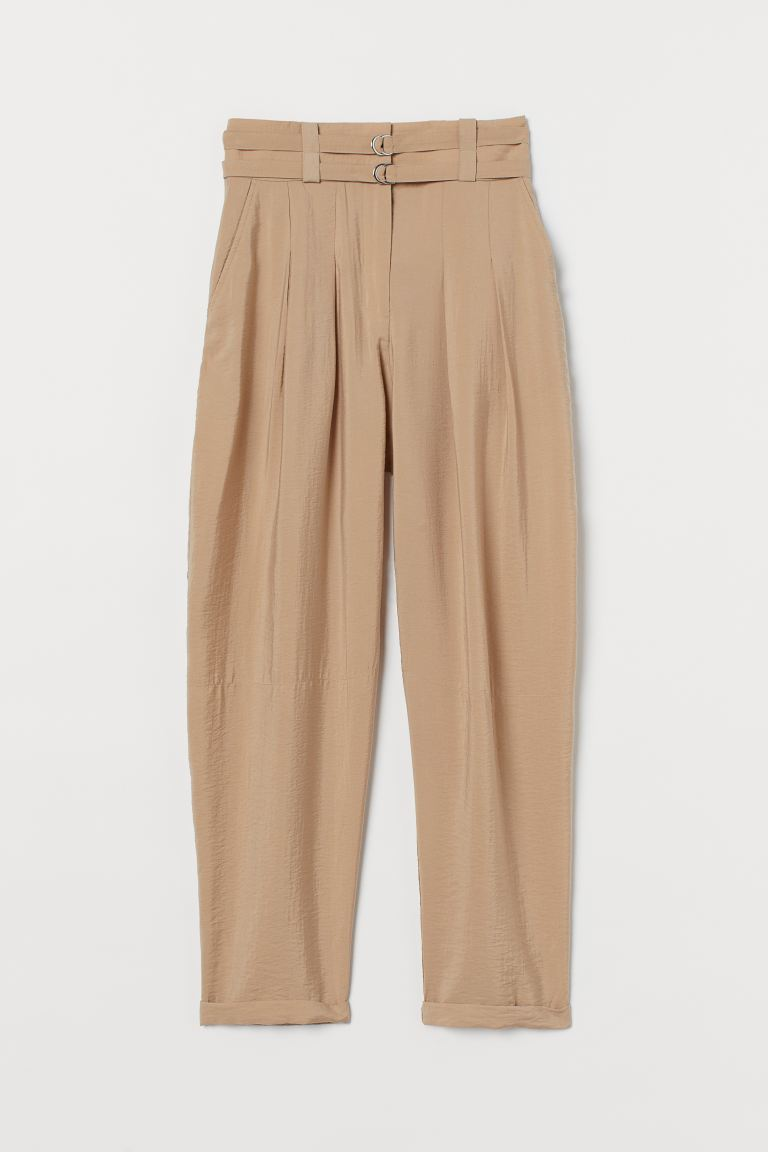 Lyocell-blend trousers - Beige - Ladies | H&M GB