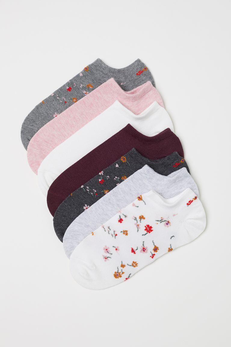 7-pack Ankle Socks - Gray/floral - Ladies | H&M US