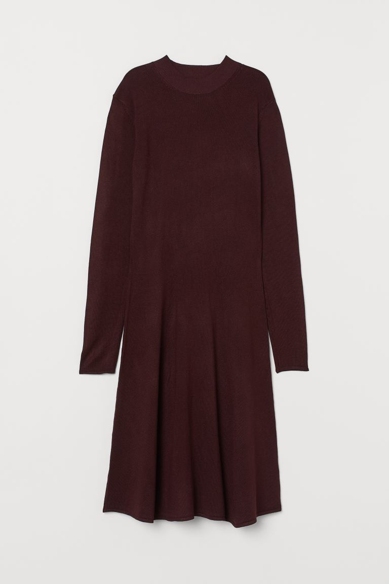 Knit Mock-turtleneck Dress - Burgundy - Ladies | H&M CA