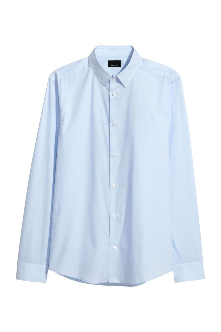 Premium cotton shirt - Light blue - Men | H&M
