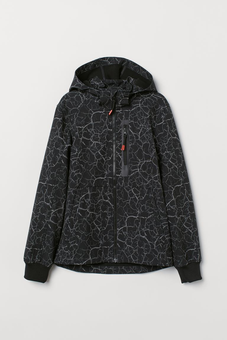 Softshell jacket - Black/Patterned - Kids | H&M IN