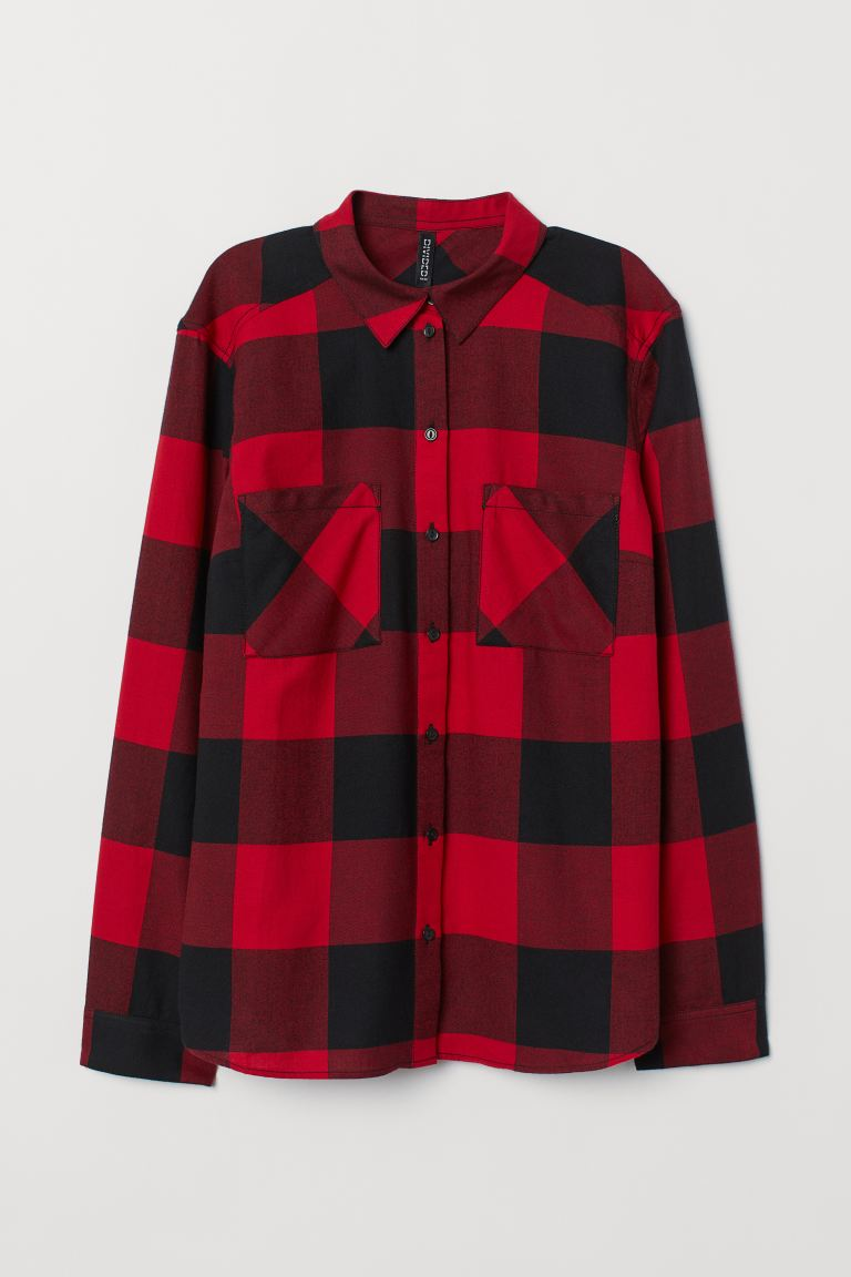 Cotton shirt - Red/Black checked - Ladies | H&M GB