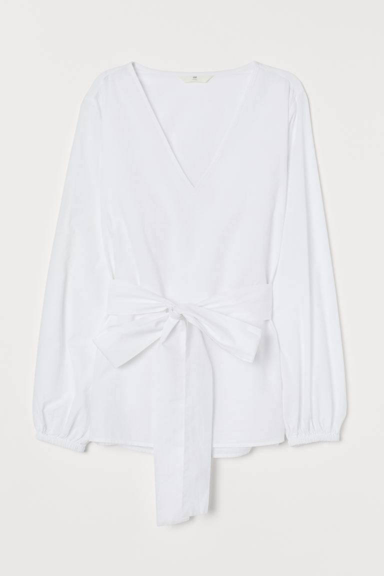 Blouse with Tie Belt - White - Ladies | H&M CA