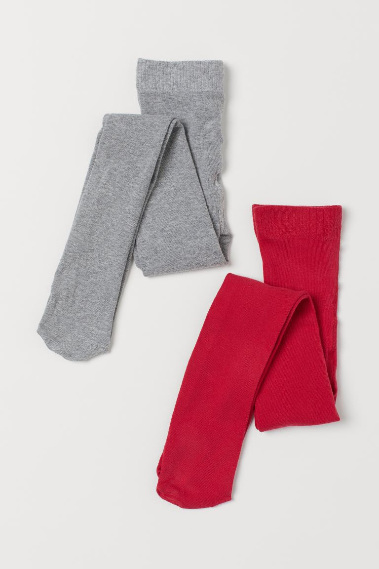 2-pack fine-knit tights - Red/Light grey marl - Kids | H&M