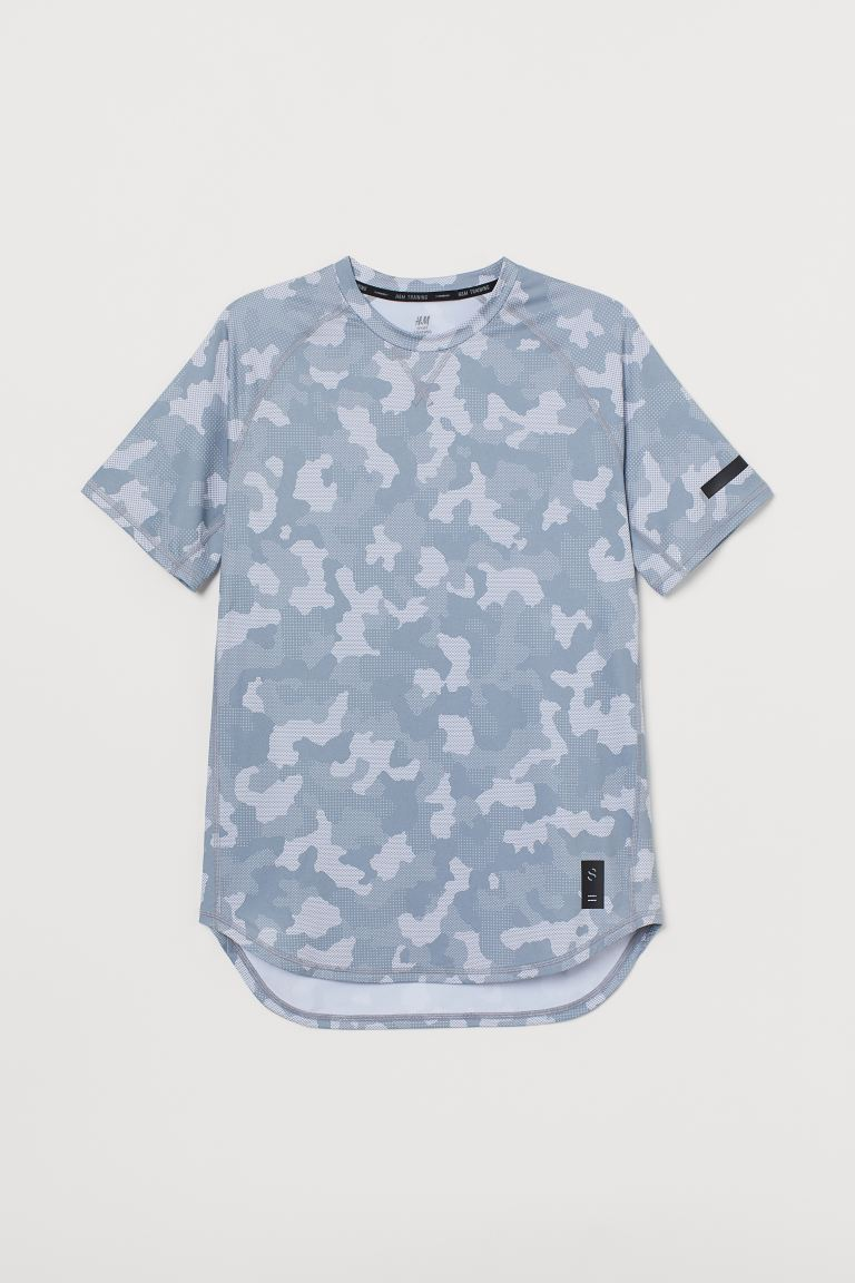 Short-sleeved sports top - Silver grey-coloured/Patterned - Men | H&M