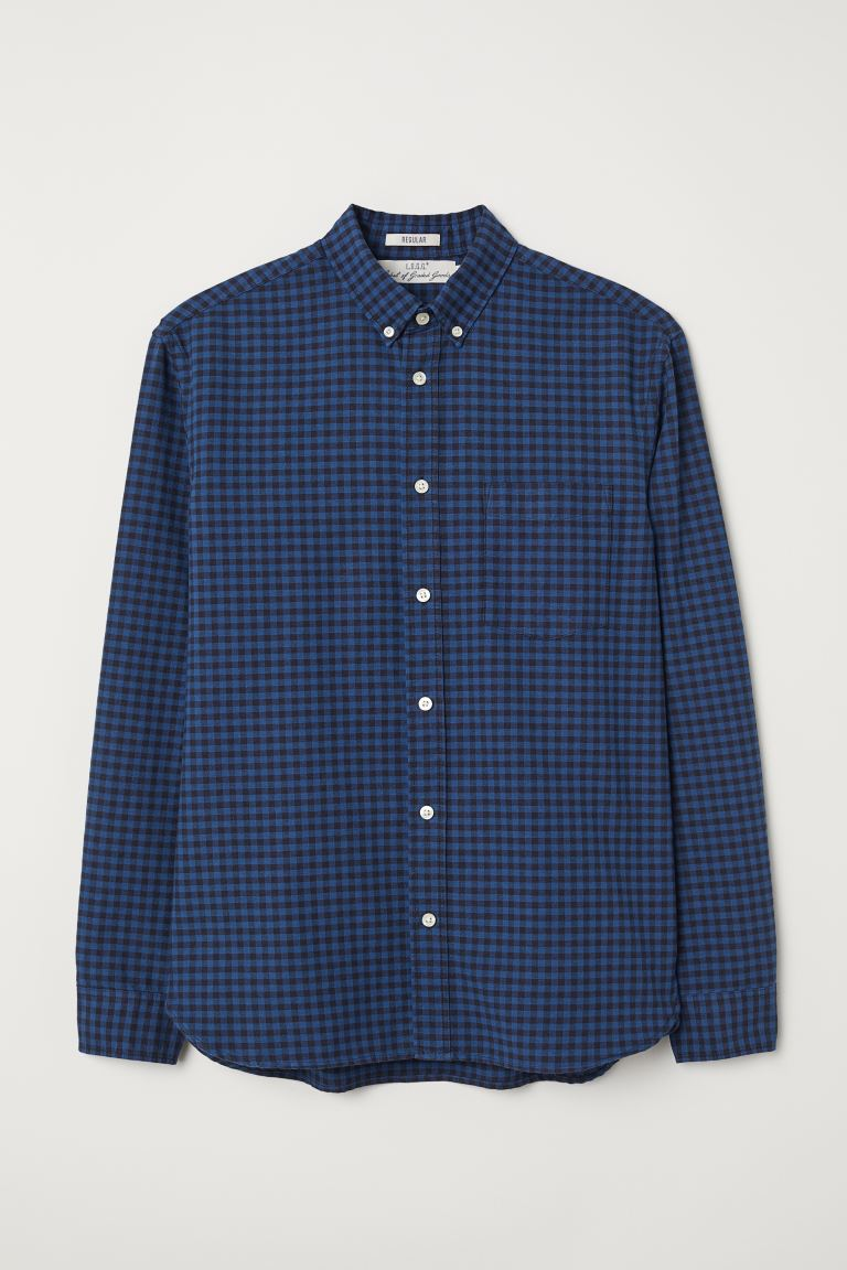 Regular Fit Oxford Shirt - Dark blue/checked - Men | H&M US