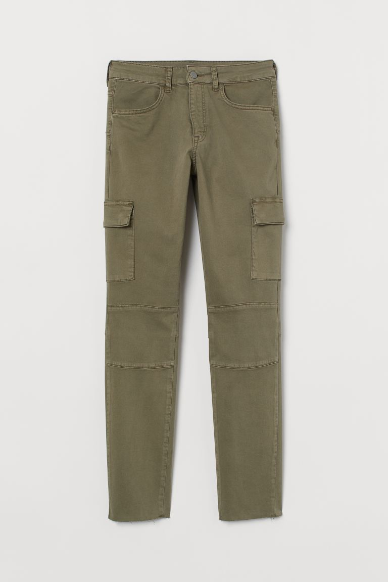 Skinny High Ankle Jeans - Khaki green - Ladies | H&M US