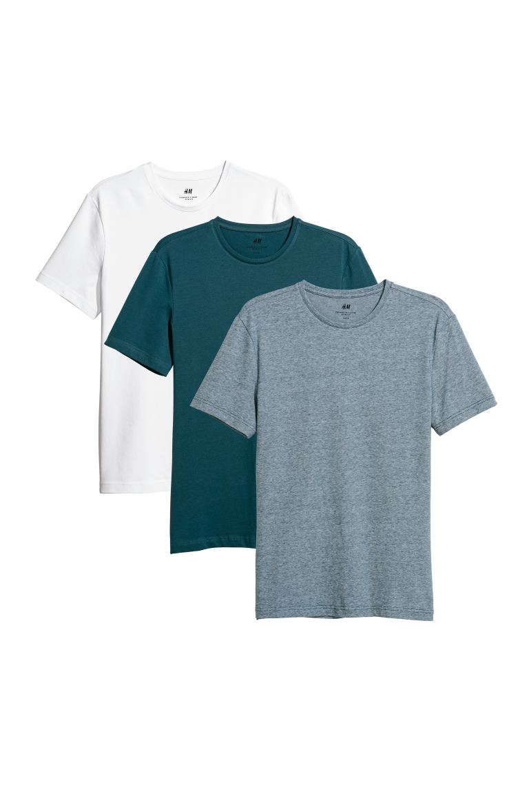 3-pack T-shirts Slim Fit - Dark turquoise/Multicoloured - Men | H&M