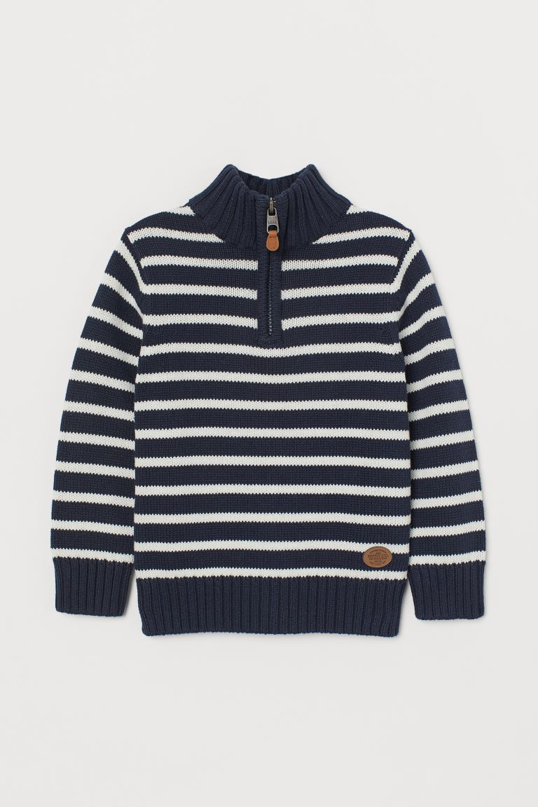 Knit Sweater with Collar - Dark blue/white striped - Kids | H&M US