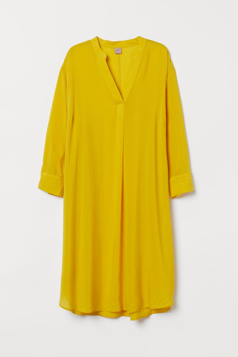 H&M+ Lyocell-blend dress - Yellow - Ladies | H&M IE