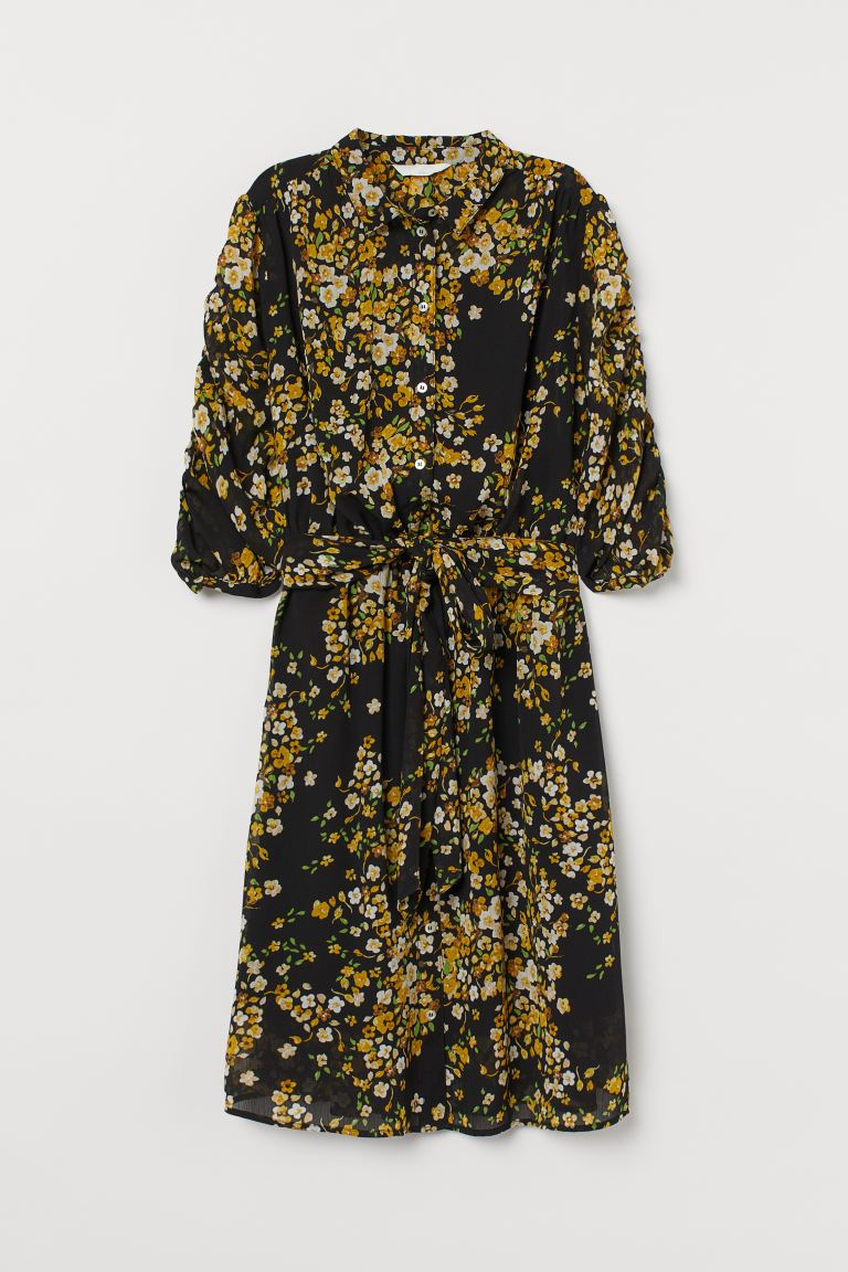 MAMA Nursing Dress - Black/yellow floral - Ladies | H&M US