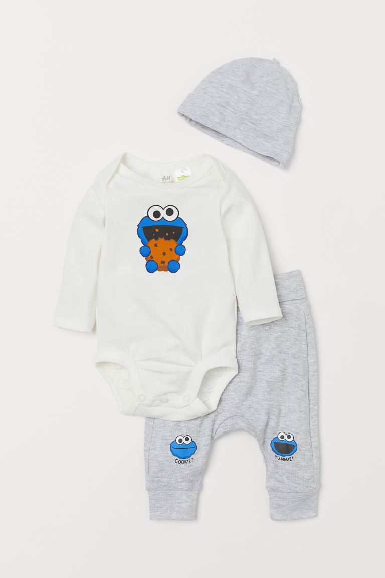 3-piece jersey set - Light grey marl/Sesame Street - Kids | H&M