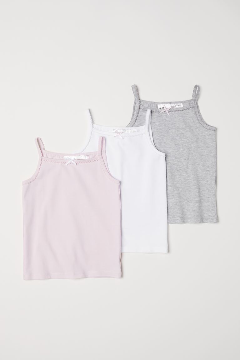 3-pack jersey vest tops - Light grey/Pink/White -  | H&M