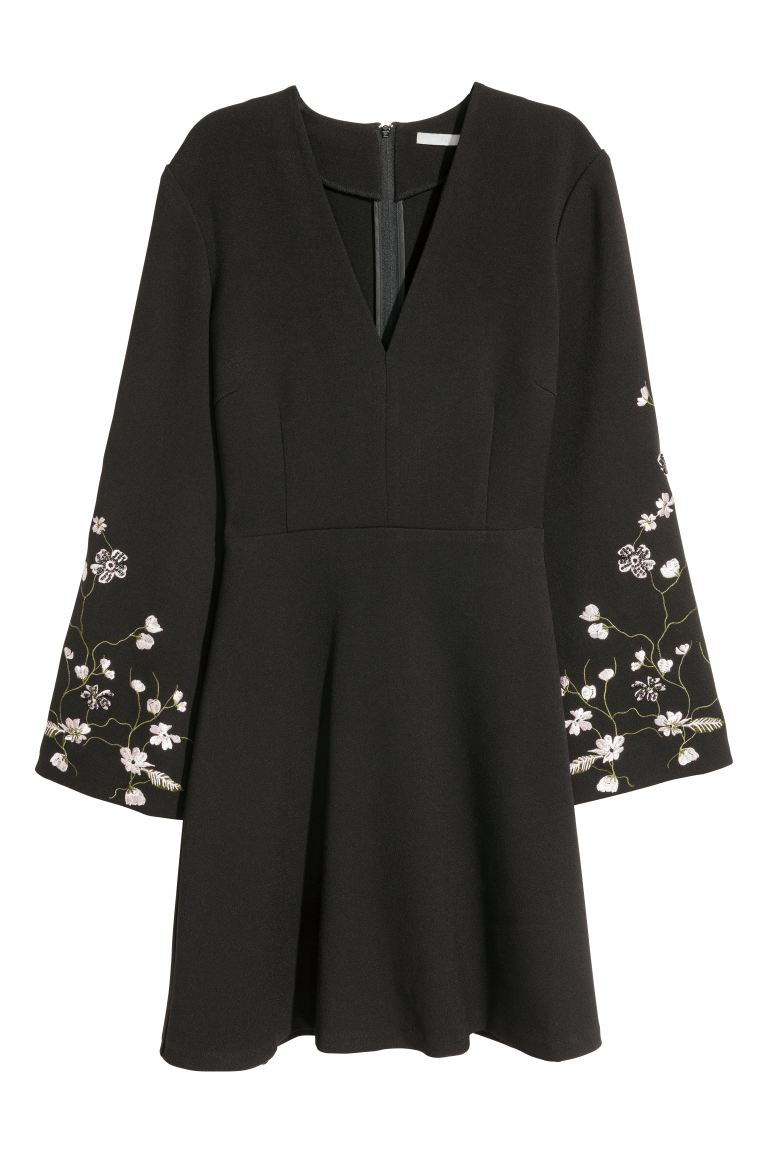 Embroidered dress - Black - Ladies | H&M GB
